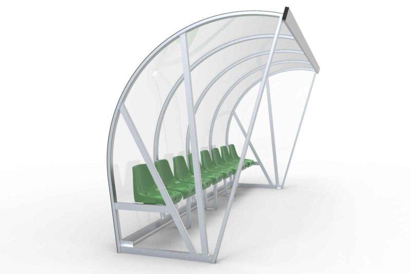 Spielerkabine Vollverschweisst Modell B mit Sitzen, 4.00 m