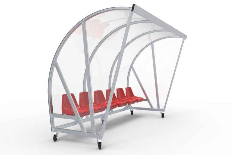 Spielerkabine Transportabel Modell D mit Sitzen, 3.00 m